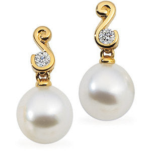 Elegant and Stylish Pair of 1/5 ct. tw. and 10.000 MM South Sea Cultured Pearl & Diamond Earrings in 18K Palladium White Gold, 100% Satisfaction Guaranteed.