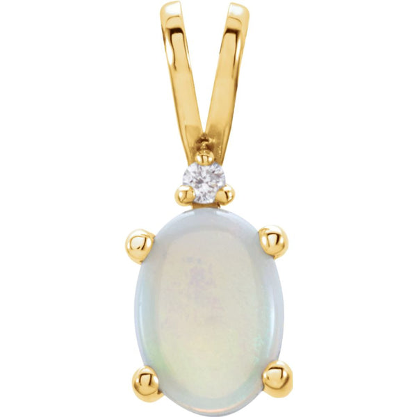14k Yellow Gold Opal & .01 CTW Diamond Pendant