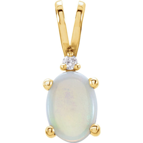 14K Yellow Gold 7X5mm Opal & 0.01 CTW Diamond Pendant