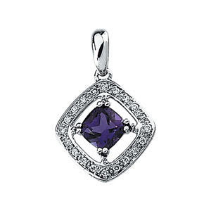 14k White Gold Amethyst & 1/10 CTW Diamond Pendant