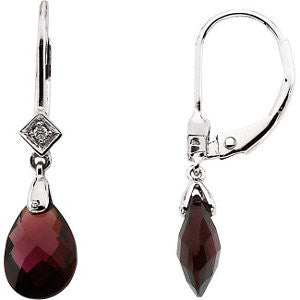 Pair of 10X7 mm and 0.025 CTTW Genuine Brazilian Garnet and Diamond Earrings in 14K White Gold