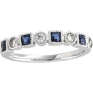 1/5 CTTW Genuine Sapphire and Diamond Anniversary Band in 14k White Gold ( Size 7 )