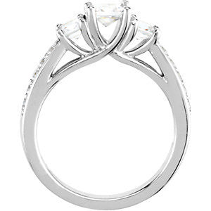 14k White Gold 7/8 CTW Diamond Engagement Ring , Size 7