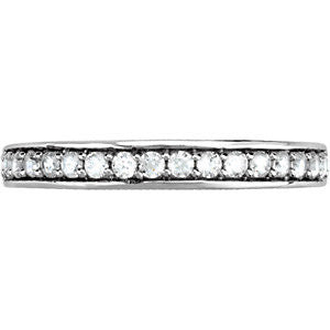 14k White Gold 1/3 CTW Diamond Band for 4.5mm Engagement Ring , Size 7