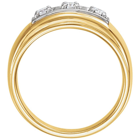 14k Yellow Gold 1/3 CTW Diamond Ring, Size 10