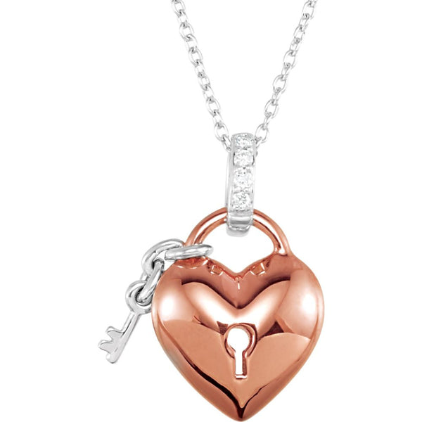 "10k Rose Gold .05 CTW Diamond Heart 18"" Necklace"
