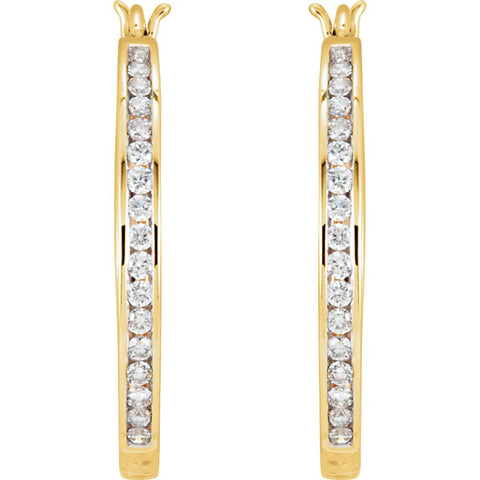 14k Yellow Gold 1/2 CTW Diamond Hoop Earrings