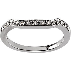 14k White Gold Accented Engagement Ring or Band, Size 7