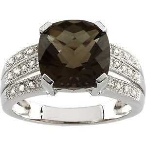 14k White Gold 1/10 CTW Diamond & 10x10mm Smoky Quartz Ring, Size 7
