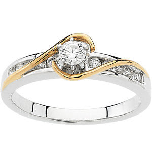 14K White & Yellow Gold 1/3 CTW Diamond Engagement Ring , Size 7
