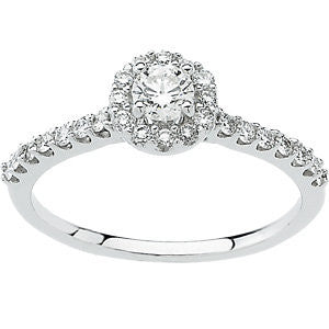 Halo-Style Engagement Ring in 14k White Gold, Size 7