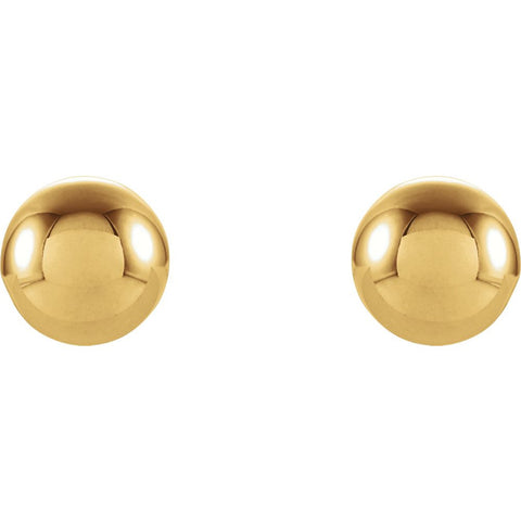14k Yellow Gold 6mm Round Ball Earrings