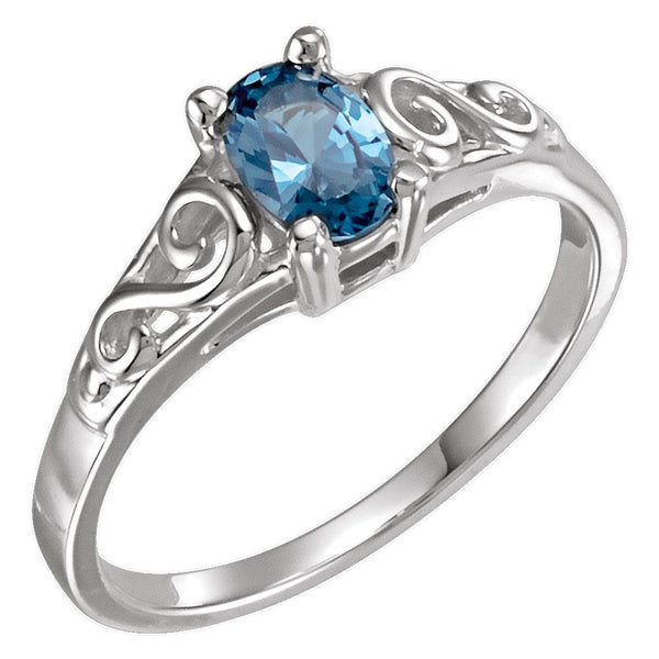 Sterling Silver December Imitation Birthstone Ring , Size 5