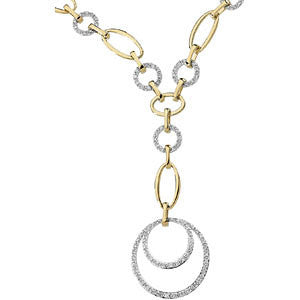 5/8 CTTW Two-Tone Diamond Necklace in 14k White and Yellow Gold