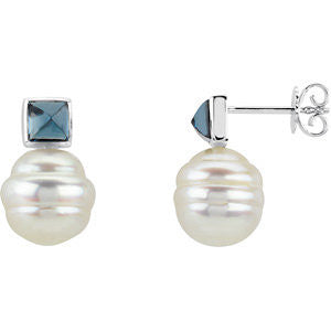 14k Yellow Gold South Sea Cultured Pearl & London Blue Topaz Earrings or Semi-mount