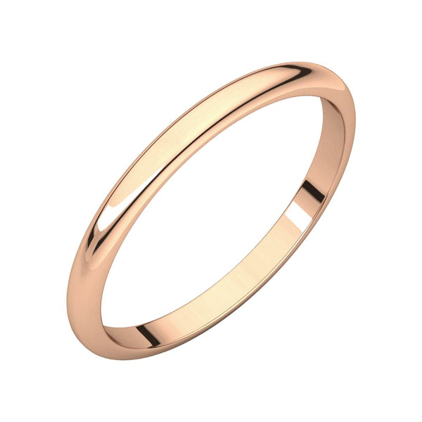 10k Rose Gold 2mm Half Round Wedding Band, Size 7