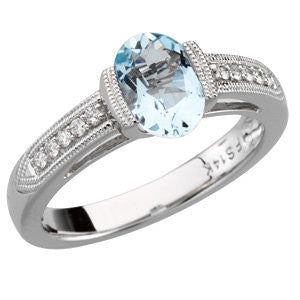 14k White Gold Aquamarine & 1/10 CTW Diamond Ring , Size 7