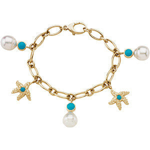 Elegant and Stylish 11.00 MM and 06.00 MM and 03.50 MM South Sea Cultured Pearl and Genuine Turquoise Charm Bracelet in 14K Yellow Gold, 100% Satisfaction Guaranteed.
