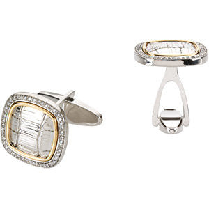 Pair of 1/2 cttw Diamond Cuff Links in Sterling Silver and 14k Yellow Gold
