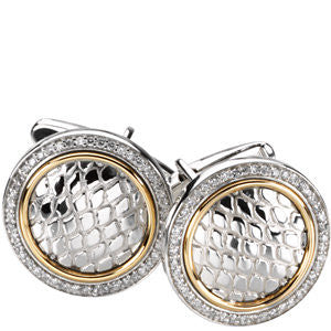 Sterling Silver & 14k Yellow Gold 1/2 CTW Diamond Cuff Links