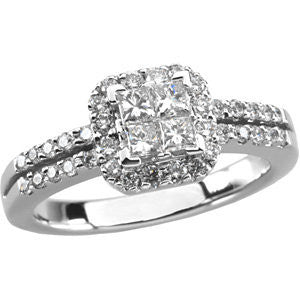 14k White Gold 3/4 CTW Diamond Engagement Ring , Size 7