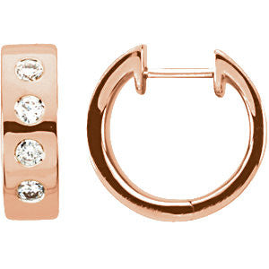 14k Rose Gold & Rhodium Plated 1/3 CTW Diamond Earrings