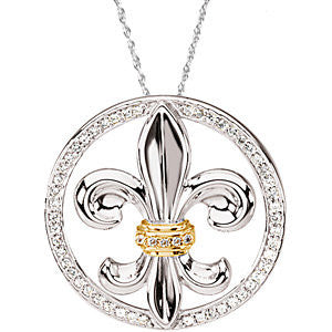 Sterling Silver & 14k Yellow Gold Cubic Zirconia Fleur-de-lis Necklace