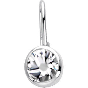 Sterling Silver April Birthstone 12.5x5.75mm Hook Charm/Pendant