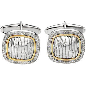 Sterling Silver & 14k Yellow Gold Diamond Cuff Links
