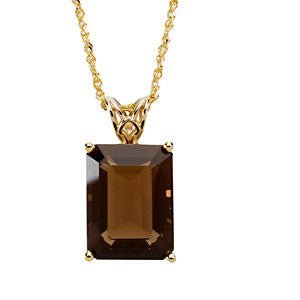 "14k Yellow Gold 16x12mm Emerald Smoky Quartz Scroll Setting® 18"" Necklace"
