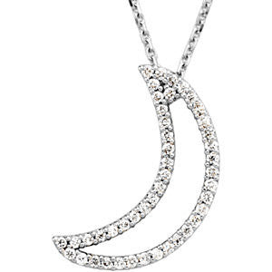 14k White Gold 1/5 CTW Diamond Crescent Moon 16