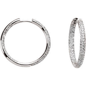 18k White Gold 1 CTW Diamond Inside/Outside Hoop Earrings