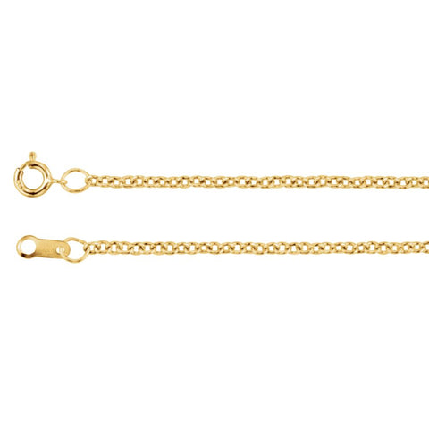 "14k Yellow Gold 1.5mm Solid Cable 20"" Chain"