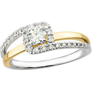 14K White & Yellow Gold 1/3 CTW Diamond Bypass Engagement Ring , Size 7