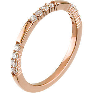 14k Rose Gold 1/4 CTTW Anniversary Band Mounting, Size 7