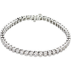 "14k White Gold 6 CTW Diamond Line 7.25"" Bracelet"