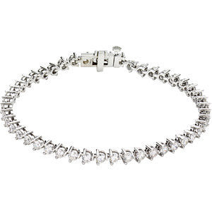 "14k White Gold 5 CTW Diamond Line 7.25"" Bracelet"