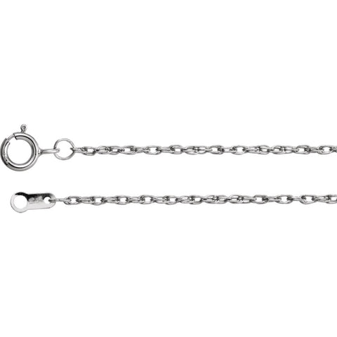 "Platinum 1.3mm Rope 18"" Chain"