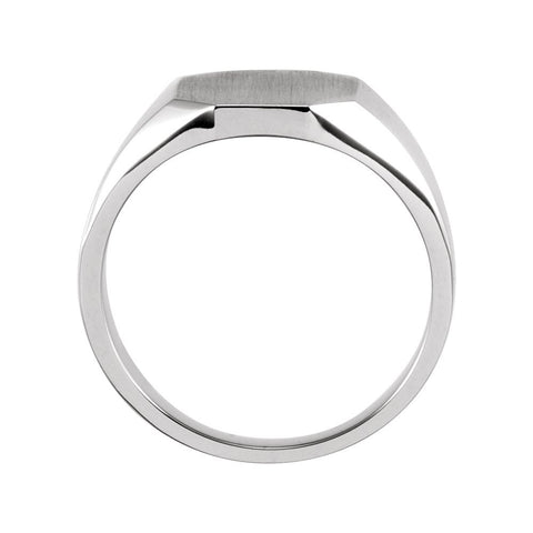 14k White Gold 11x9mm Octagon Signet Ring, Size 6