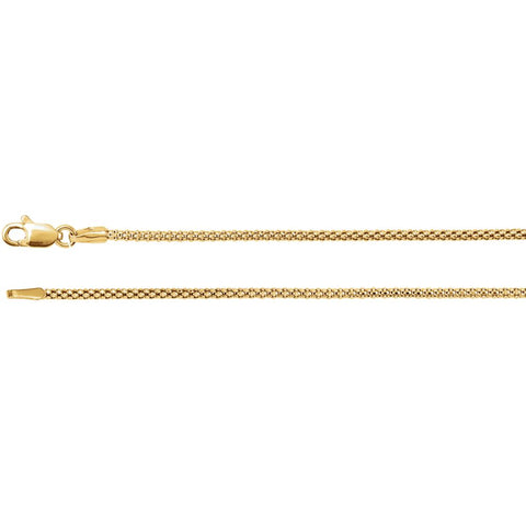 1.50 mm Hollow Popcorn Chain in 14k Yellow Gold ( 18-Inch )