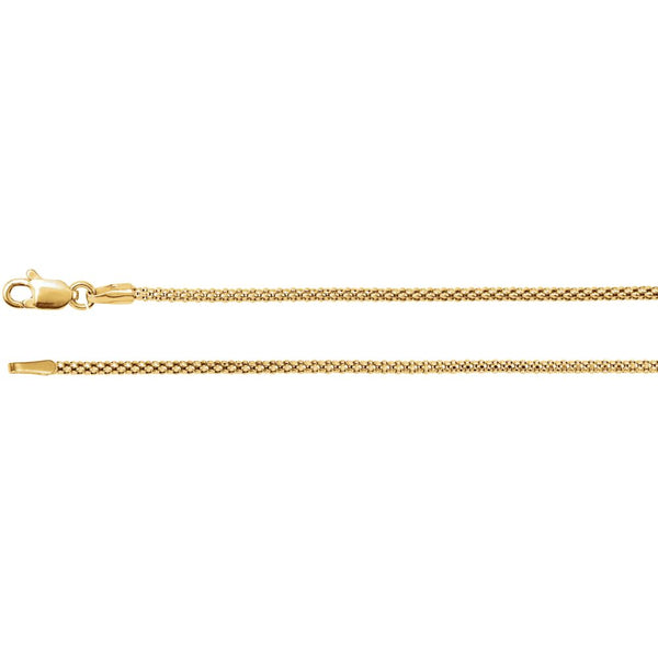 "14k Yellow Gold 1.5mm Hollow Popcorn 16"" Chain"