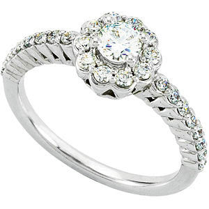 Cluster Engagement Ring in 14k White Gold, Size 7