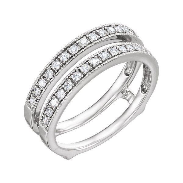 14k White Gold 1/3 CTW Diamond Ring Guard, Size 7