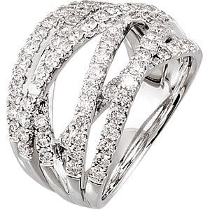 14k White Gold 1 1/2 CTW Diamond Criss-Cross Ring Size 7