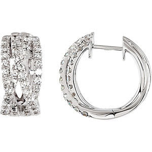 14k White Gold Criss Cross Hoop Earrings