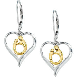 Pair of 16.75x14.70 mm Heart Shaped Mother and Child Earrings in Sterling Silver and 10k Yellow Gold