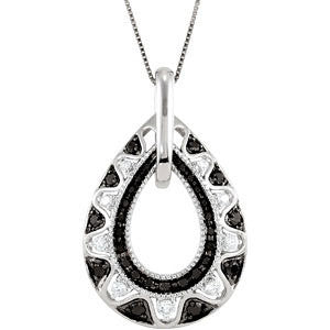 1/2 CTTW Black and White Diamond 18-inch Necklace in 14k White Gold