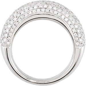 14k White Gold 1 1/2 CTW Diamond Pavé Ring Size 7