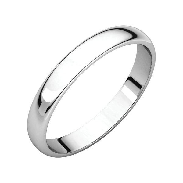 Sterling Silver 3mm Half Round Light Band, Size 7.5