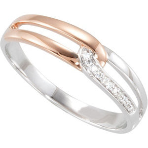 0.03 CTTW Diamond Ring with Rose Plating in 14k White Gold (Size 6 )